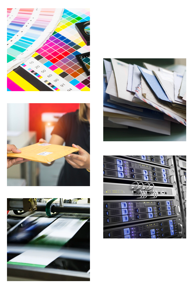 5 image grid of various printing offerings provided by DDI