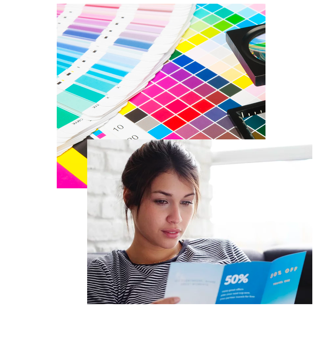 Two images, one a close-up of print color swatches and the second of a woman reading print material